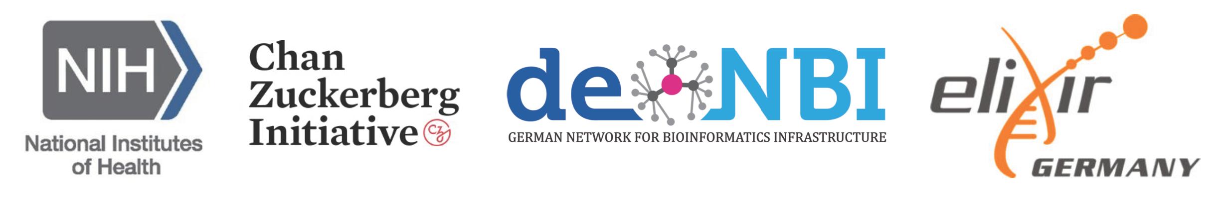 sponsor logos: NIH, Chan Zuckerberg Initiative, deNBI, elixir Germany